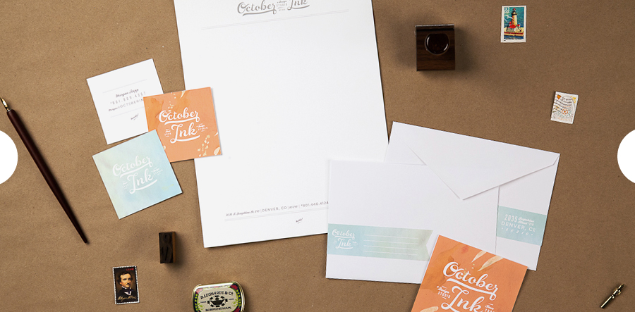October Ink - branding - business card- logo - letterhead