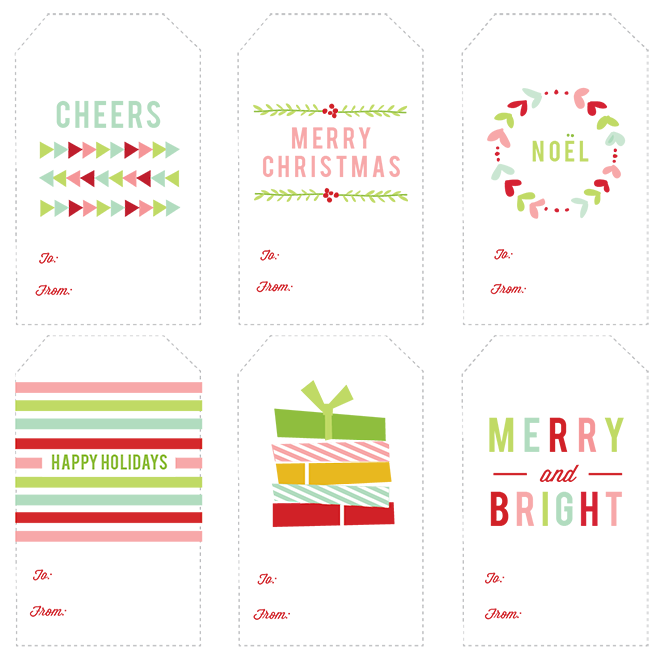 Free Printable Christmas Gift Tags by October Ink