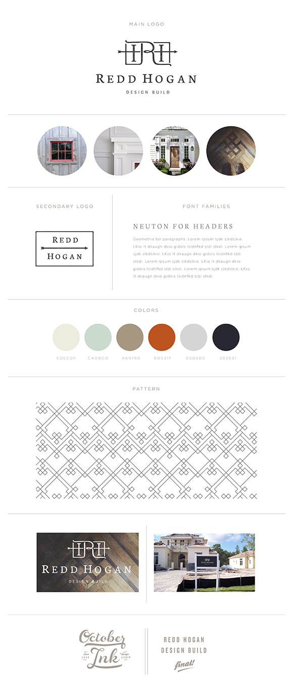 Redd Hogan Design Build | October Ink | Branding Board
