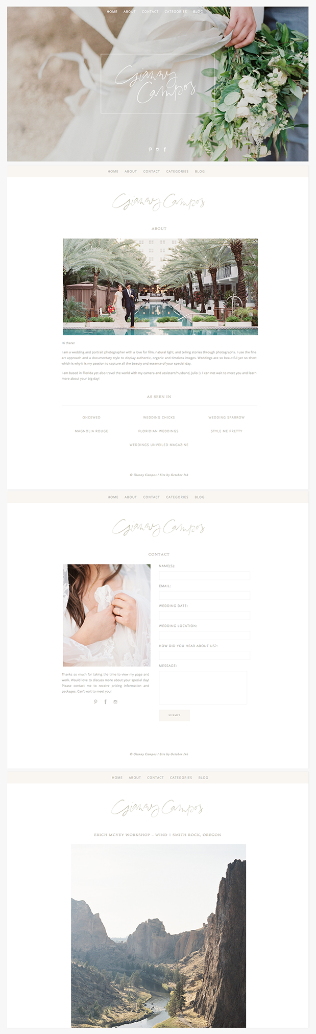 October Ink - Gianny Campos Website Design