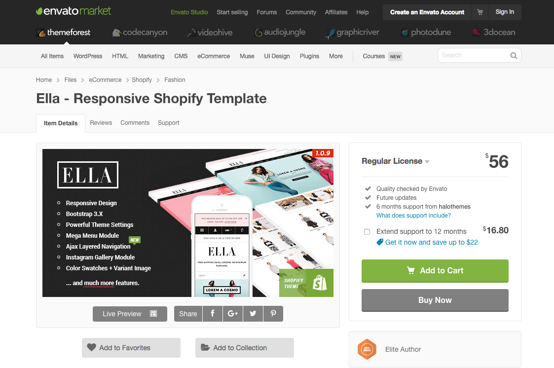 Shopify theme template themeforest